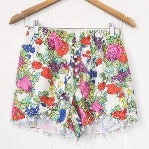 tobi Aloalo Shorts  Floral with Pom Poms Large